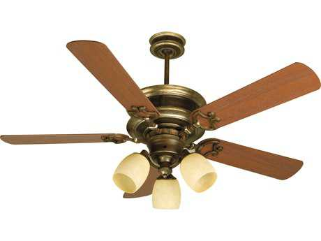 Craftmade Woodward Dark Coffee/Vintage Madera Three-Light 52 Inch Wide Ceiling Fan with Washed Walnut Birch Blades and Antique Scavo Light Kit