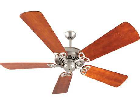 Craftmade American Tradition Brushed Satin Nickel 54 Inch Wide Ceiling Fan with Premier Blades in Distressed Cherry