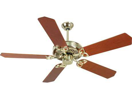 Craftmade CXL Polished Brass 52 Inch Wide Ceiling Fan with Custom Wood Blades in Cherry