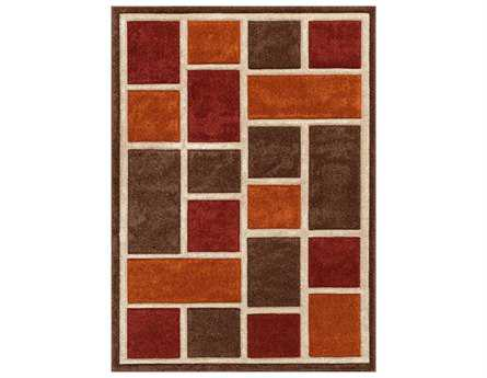 Central Oriental Alpha Modern Red Machine Made Synthetic Geometric 2' x 7'7 Area Rug - 1702.21.14