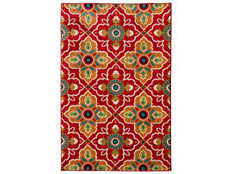 Central Oriental Terrace Tropic Transitional Pink Machine Made Synthetic Floral/Botanical 5' x 7'3 Area Rug - 2309ON80.084