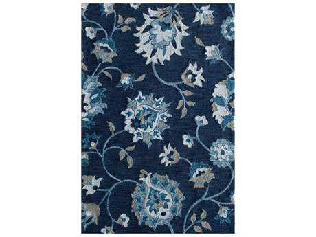 Central Oriental Stratum Space Dye Transitional Blue Machine Made Synthetic Floral/Botanical 5' x 7' Area Rug - 7050.41.50