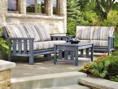 C.R. Plastic Stratford Deep Seating Recycled Plastic 6 Person Cushion Conversation Patio Lounge Set
