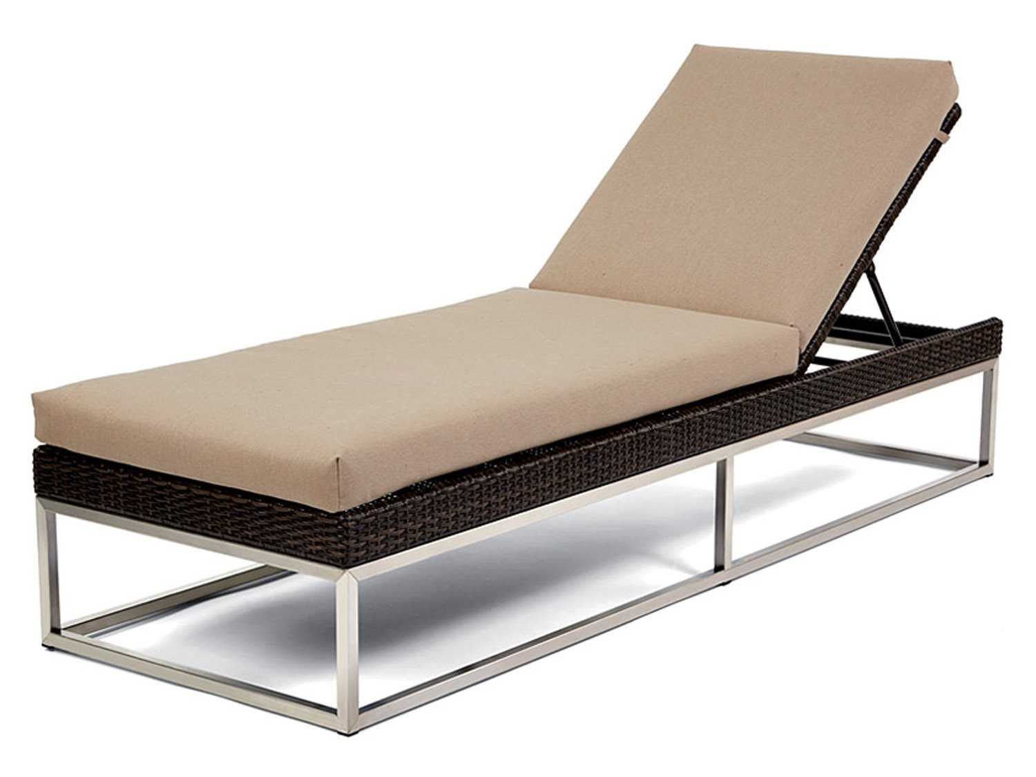 Caluco mirabella wicker cushion side adjustable chaise for Bamboo chaise lounge