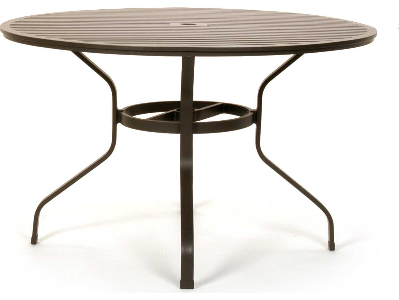 Caluco san michele aluminum 48 round metal dining table for Metal patio table
