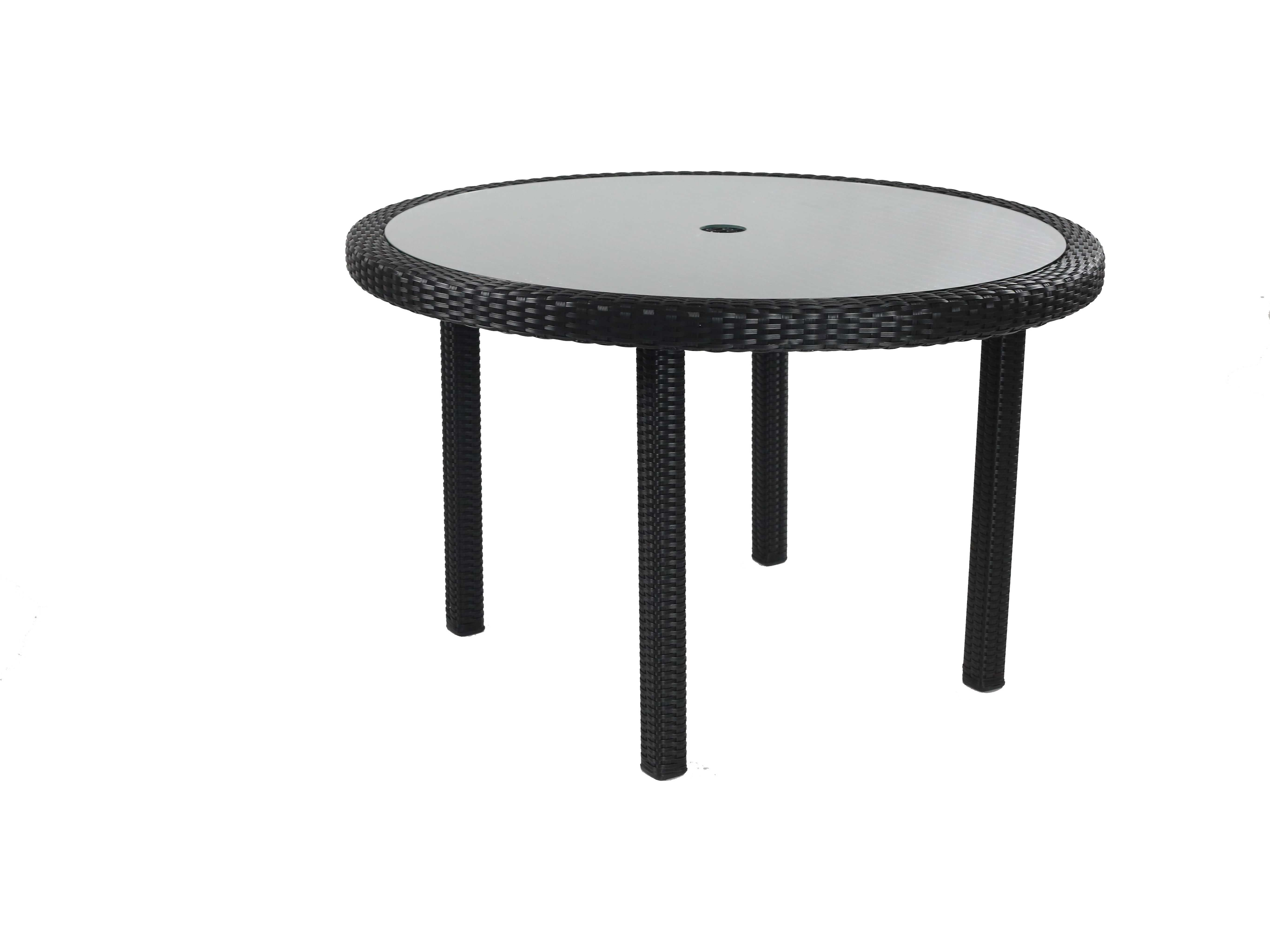 Round Glass Dining Table 48 Inches: Caluco Dijon Wicker Majestick Black 48'' Wide Round Dining