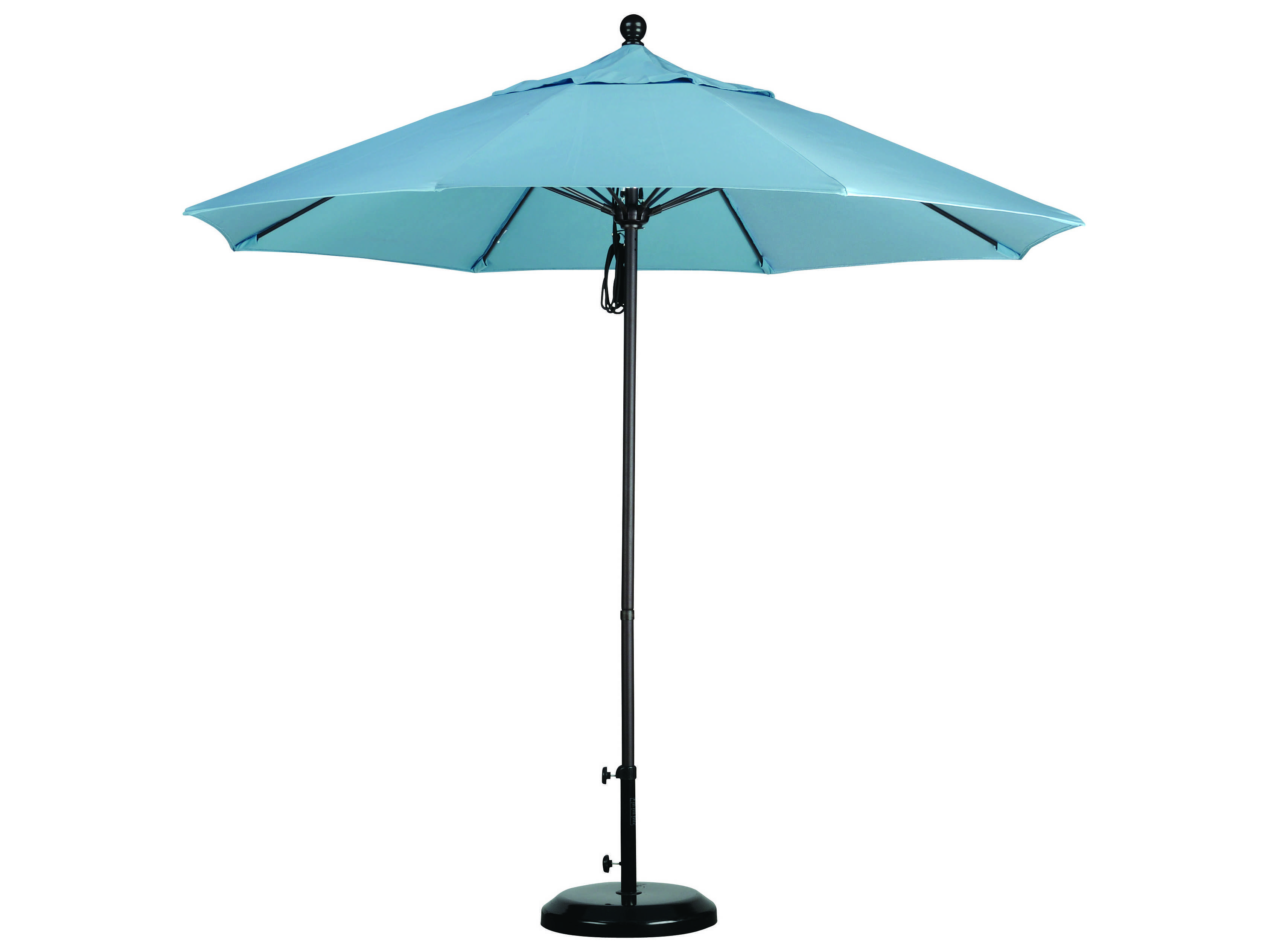 Caluco 9 commercial grade umbrella with sunbrella canopy for Canopy umbrella