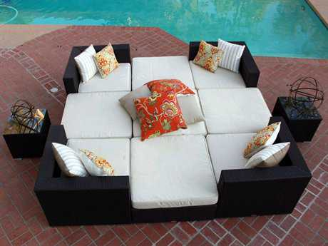 Caluco Dijon Wicker 8 or more Cushion Sectional Patio Lounge Set