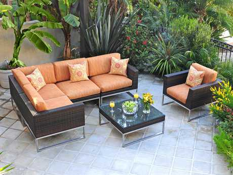 Caluco Mirabella Wicker 6 Person Cushion Sectional Patio Lounge Set