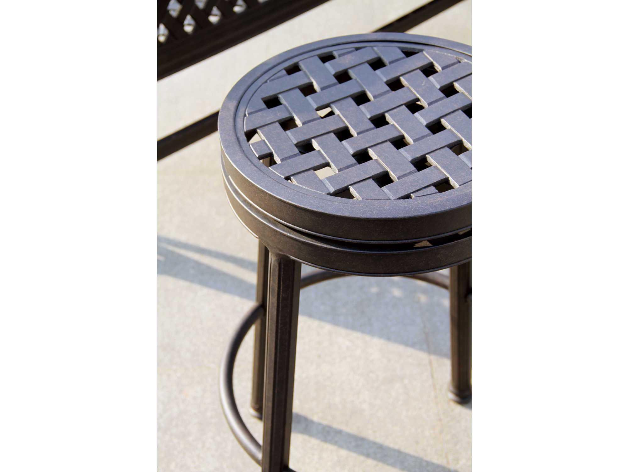 darlee outdoor living standard backless cast aluminum antique bronze round swivel bar stool 1210 7. Black Bedroom Furniture Sets. Home Design Ideas