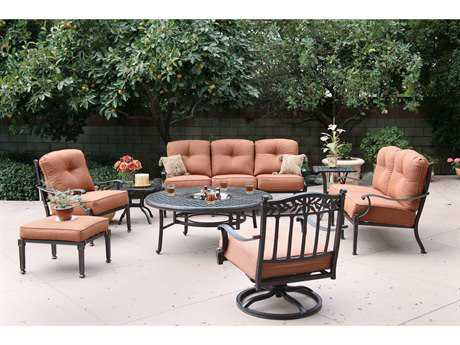 Darlee Charleston Cast Aluminum 7 Person Cushion Conversation Patio Lounge Set