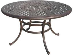 Darlee Outdoor Living Quick Ship Series 30 Cast Aluminum Antique Bronze 52 Round Dining Table with Ice Bucket