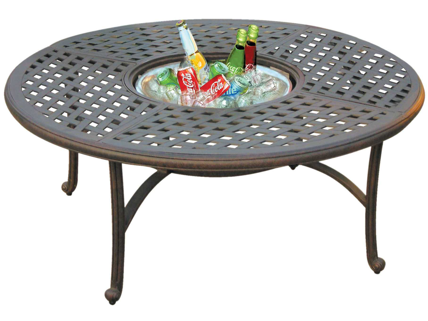 Marvelous photograph of   Aluminum Antique Bronze 52 Round Chat Table with Ice Bucket DL30 Q with #AC201F color and 1814x1361 pixels