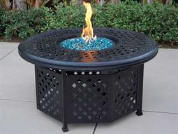 Darlee Outdoor Living Quick Ship Series 30 Cast Aluminum Antique Bronze 48 Round Propane Fire Pit Chat Table
