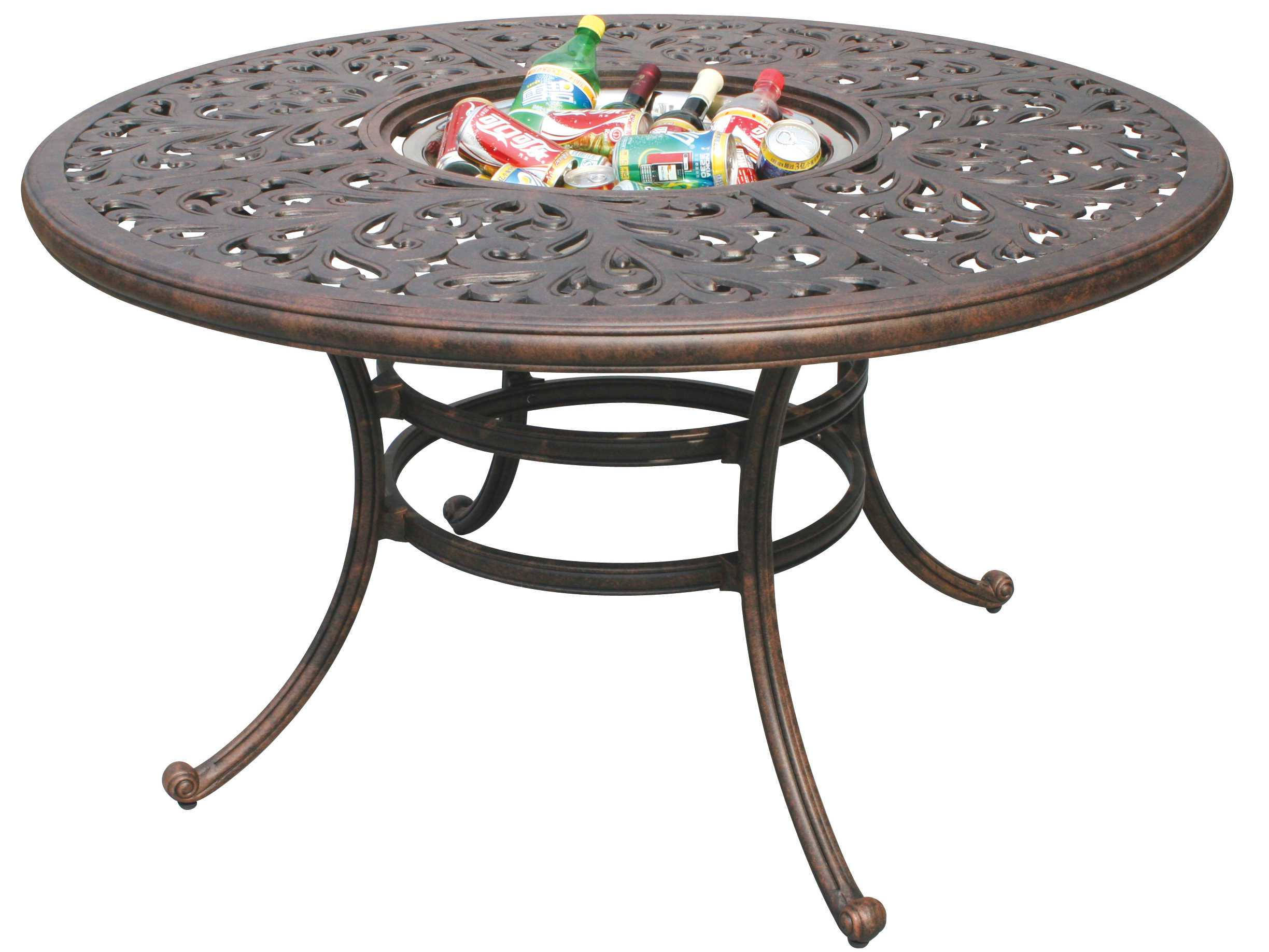 Darlee outdoor living series 80 cast aluminum antique for Metal patio table