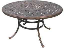 Darlee Outdoor Living Quick Ship Series 80 Cast Aluminum Antique Bronze 52 Round Dining Table with Ice Bucket