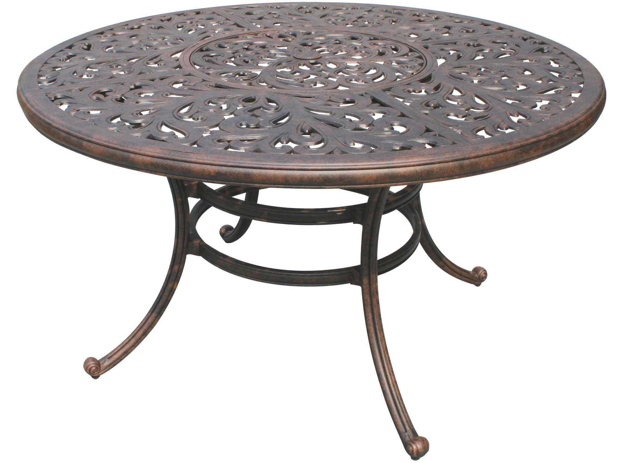 80 cast aluminum antique bronze 52 round dining table with ice bucket