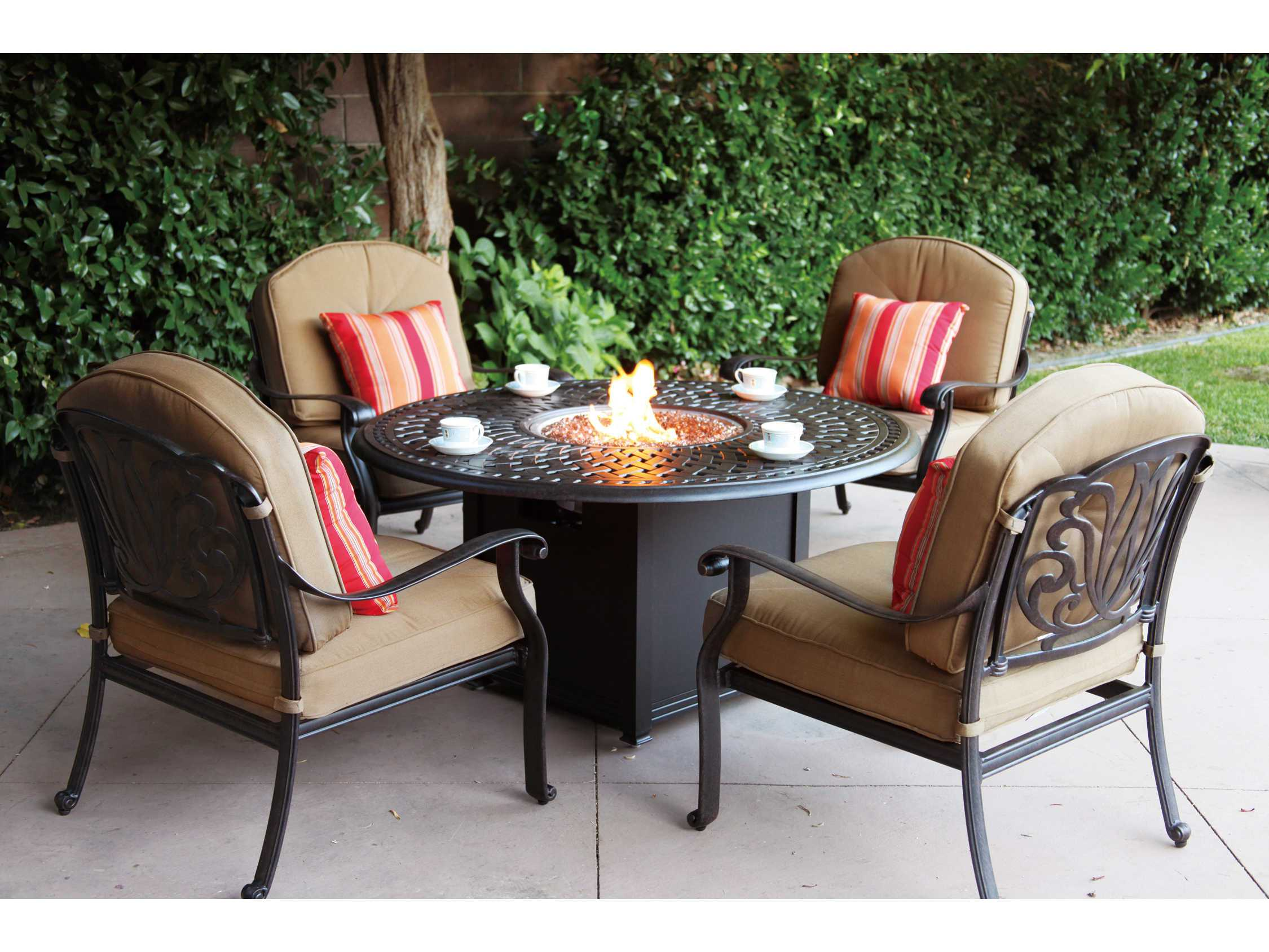 Living Series 60 Cast Aluminum 60 Round Propane Fire Pit Dining Table