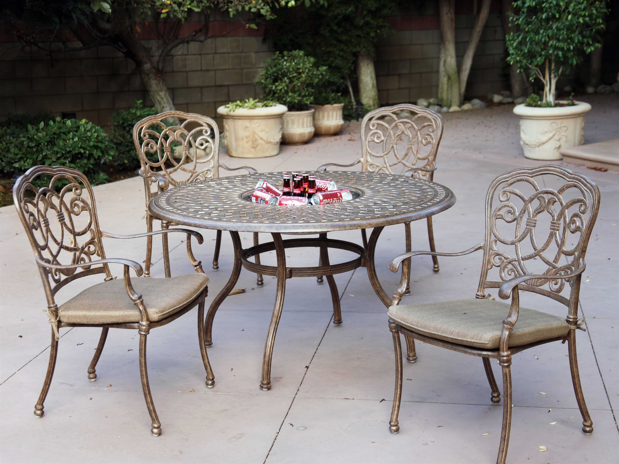 60 Cast Aluminum 52 Round Dining Table With Ice Bucket 201060 DQ
