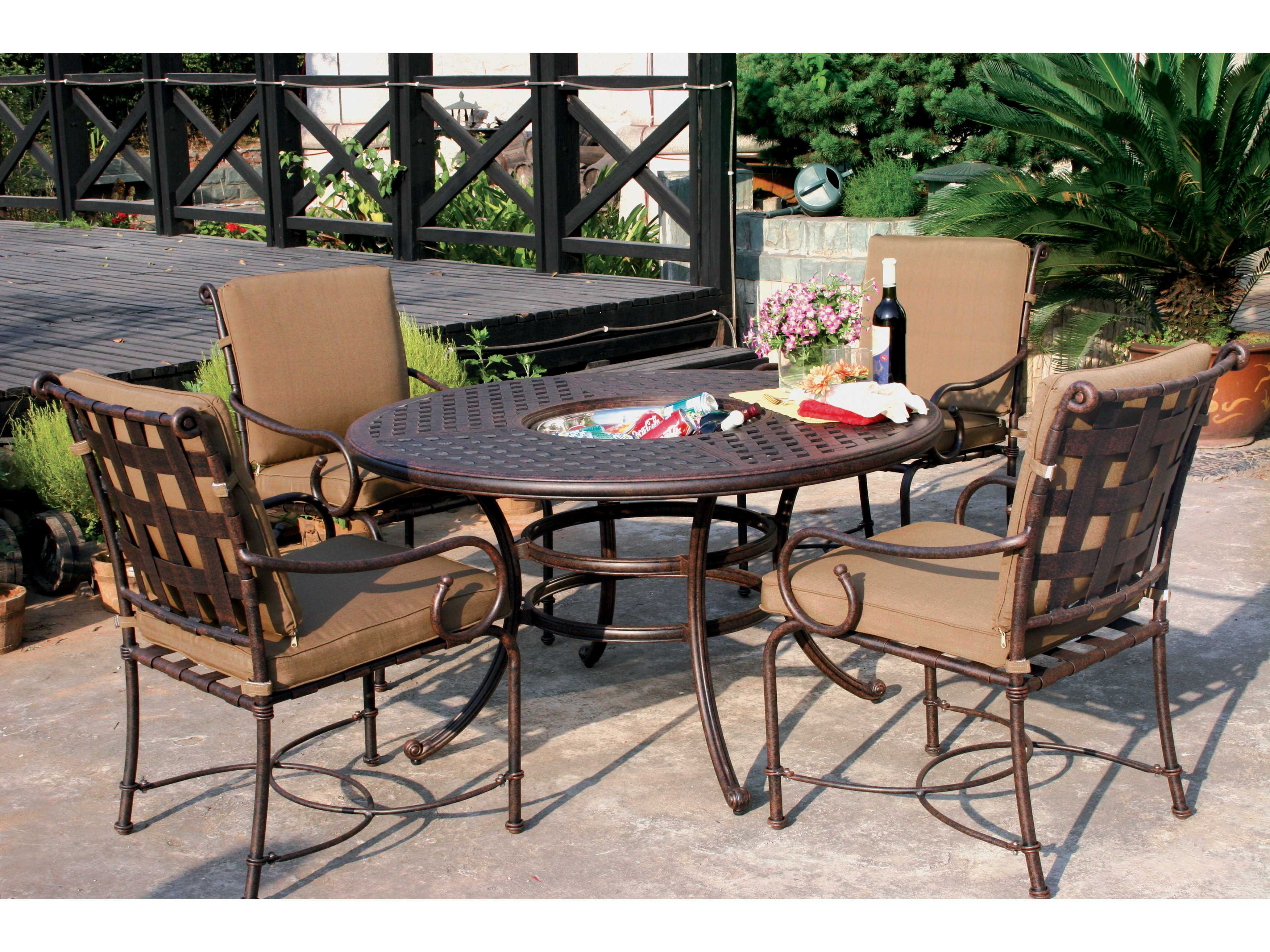 30 Cast Aluminum Antique Bronze 52 Round Dining Table With Ice Bucket