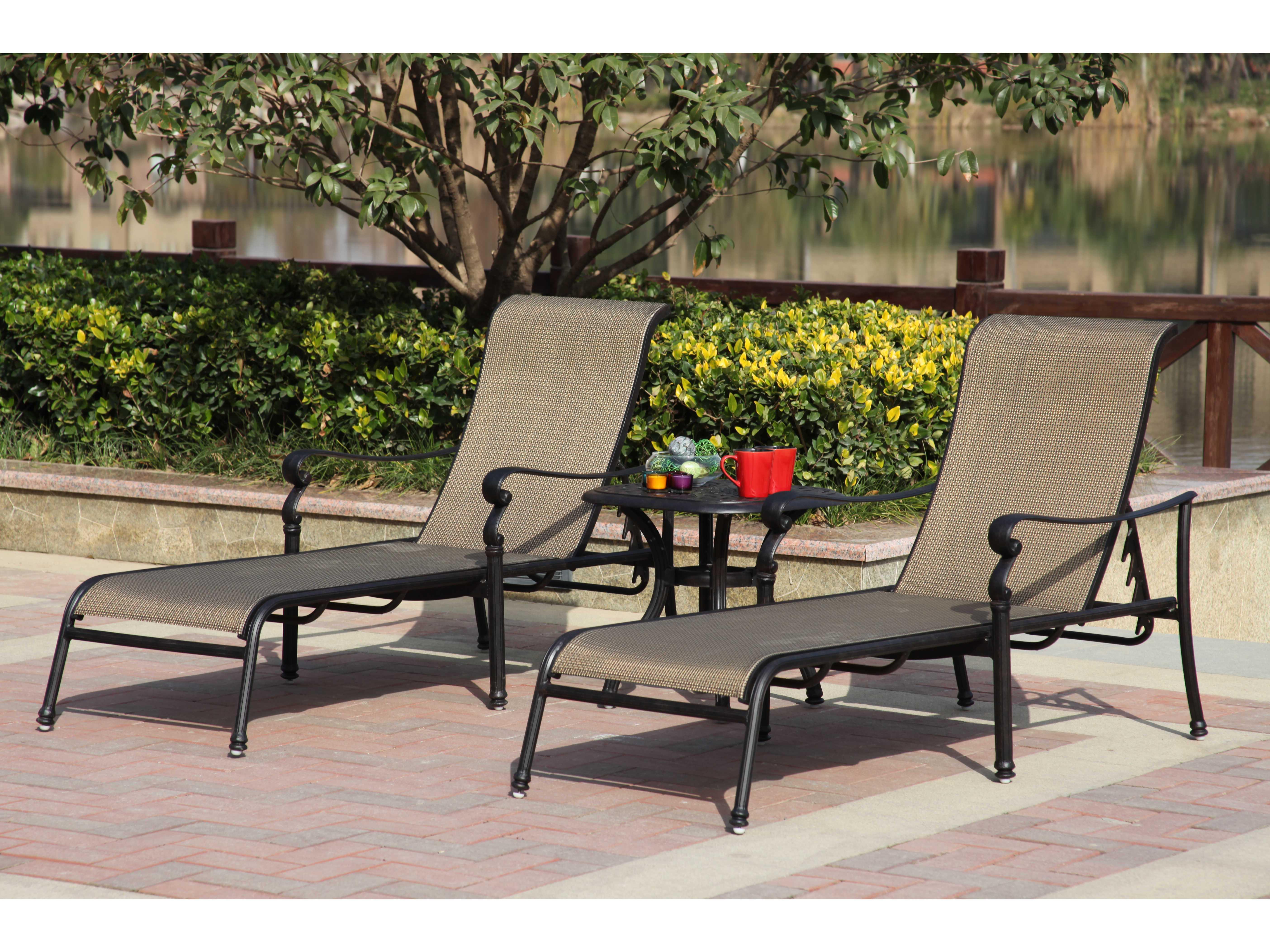 Darlee outdoor living standard monterey cast aluminum for Bronze chaise lounge