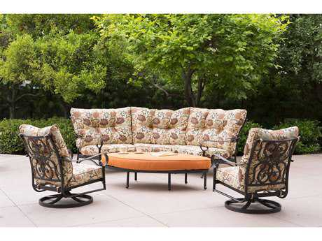 Darlee Santa Anita Cast Aluminum 5 Person Cushion Conversation Patio Lounge Set