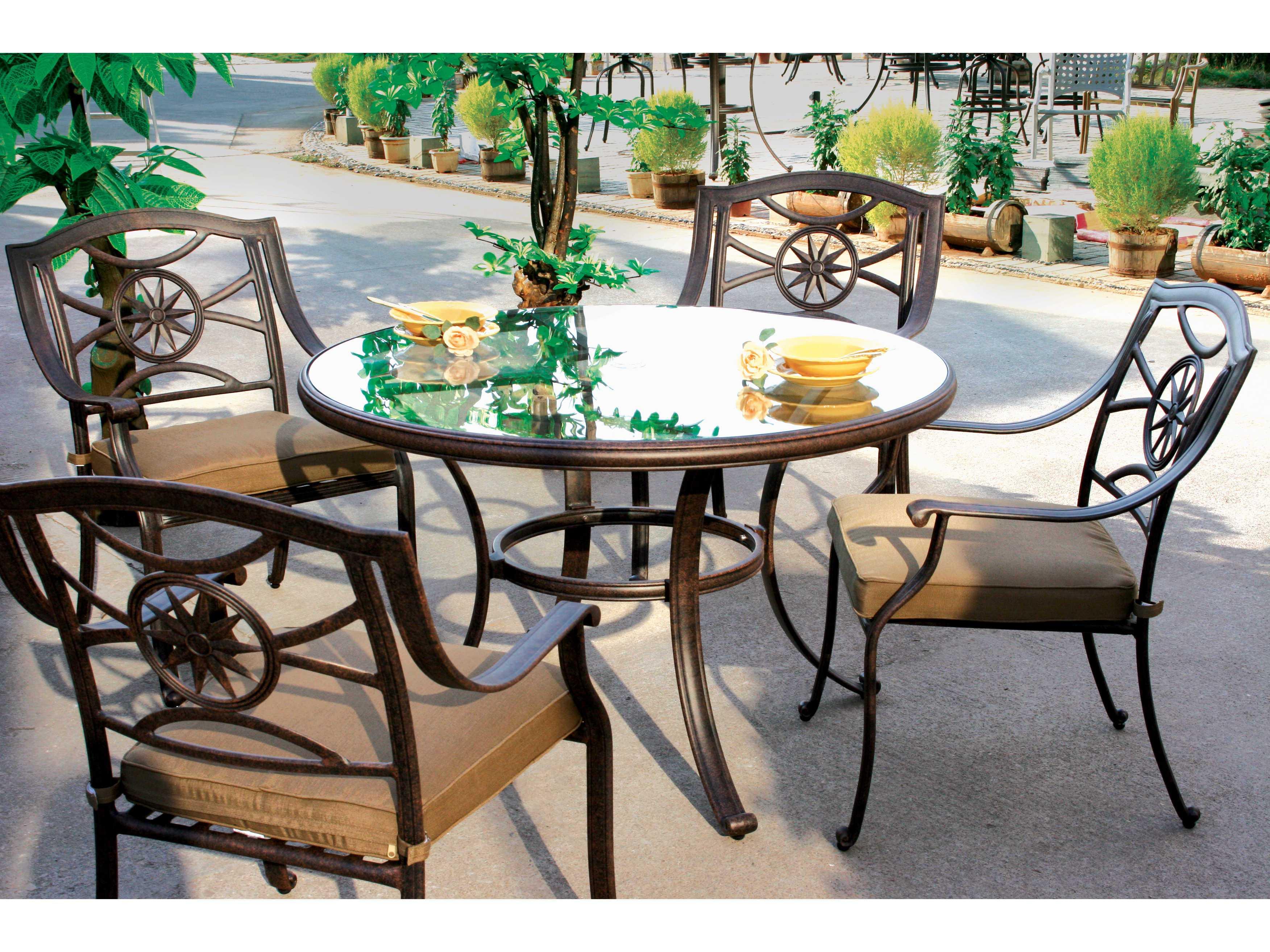 Darlee Outdoor Living Glass Top Cast Aluminum Antique Bronze 48 Round Dining