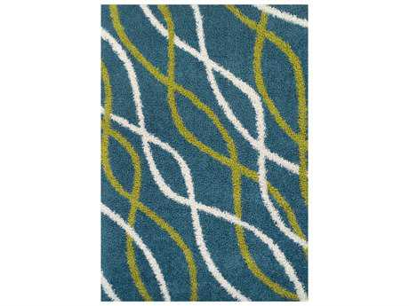 Dalyn Calypso Modern Teal Machine Made Synthetic Abstract 3'3