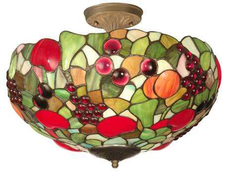Dale Tiffany Fruit Three-Light Semi-Flush Mount Light