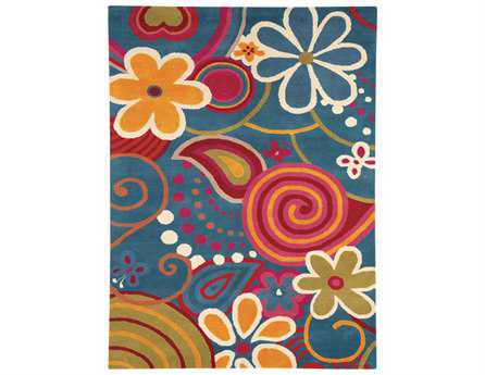 Dynamic Fantasia Modern Teal Hand Made Wool Floral/Botanical 3' x 5' Area Rug - FA351704500