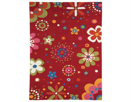 Dynamic Fantasia Modern Red Hand Made Wool Graphic 3' x 5' Area Rug - FA351705300