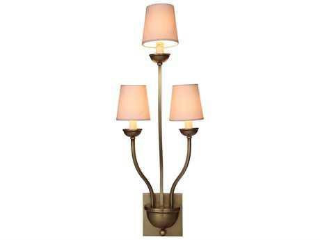 Elegant Lighting Vineland Burnished Brass Three-Lights Wall Sconce