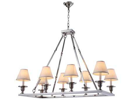 Elegant Lighting Franklin Polished Nickel Eight-Lights 38'' Long Island Light