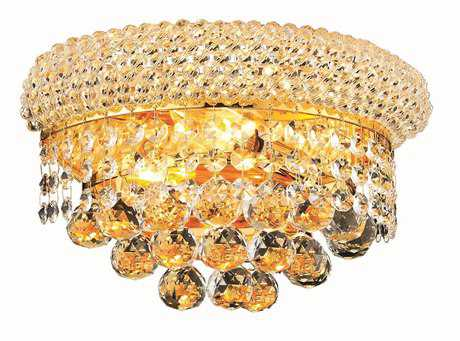 Elegant Lighting Primo Royal Cut Gold & Crystal Two-Light Wall Sconce Royal Cut - 1800W12G/RC