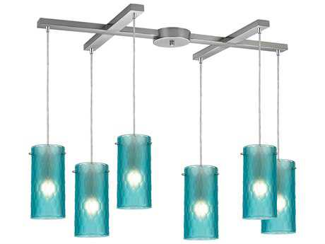 Elk Lighting Synthesis Satin Nickel & Frosted Aqua Glass Six-Light 33'' Wide Island Light