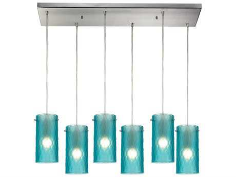 Elk Lighting Synthesis Satin Nickel & Frosted Aqua Glass Six-Light 30'' Wide Island Light
