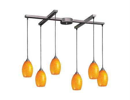 Elk Lighting Mulinello Satin Nickel & Canary Glass Six-Light 33'' Wide Island Light