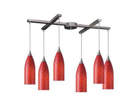 Elk Lighting Cilindro Satin Nickel & Scarlet Red Glass Six-Light 33'' Wide Island Light