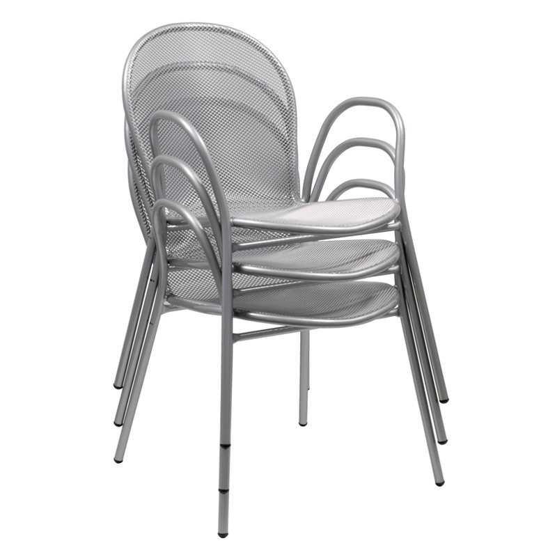 emu ronda steel heavy duty w stretchers stacking arm chair