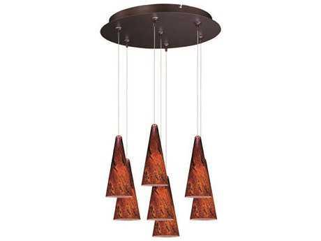 ET2 Lava Bronze & Amber Glass Seven-Light 17'' Wide Pendant Light