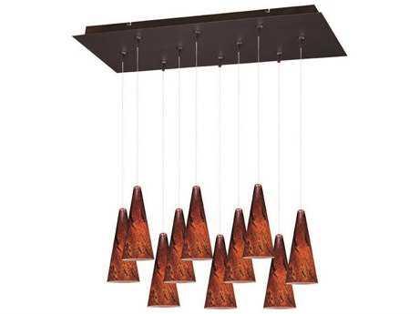 ET2 Lava Bronze & Amber Glass Ten-Light 31.5'' Long Island Light