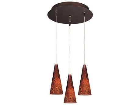 ET2 Lava Bronze & Amber Glass Three-Light 12'' Wide Pendant Light