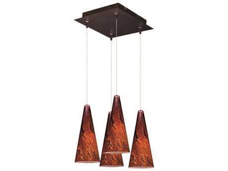 ET2 Lava Bronze & Amber Glass Four-Light 11'' Wide Pendant Light