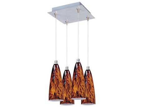 ET2 Amber Lava Satin Nickel & Amber Glass Four-Light 11'' Wide Pendant Light