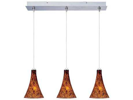 ET2 Leopard Satin Nickel & Amber Glass 24'' Long Three-Light Island Light
