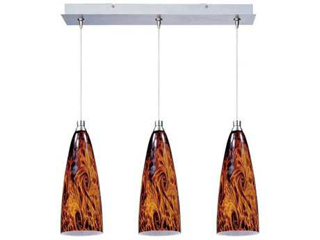 ET2 Amber Lava Satin Nickel & Amber Glass Three-Light 24'' Long Island Light