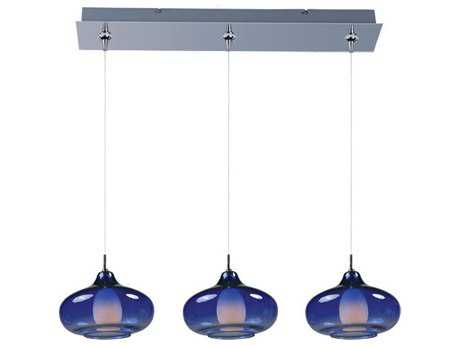 ET2 Graduating Polished Chrome & Blue Glass Three-Light 24'' Wide Long Island Light
