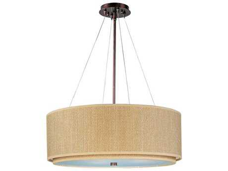 ET2 Elements Oil Rubbed Bronze & Grass Cloth Three-Light 29'' Wide Incandescent Pendant Light