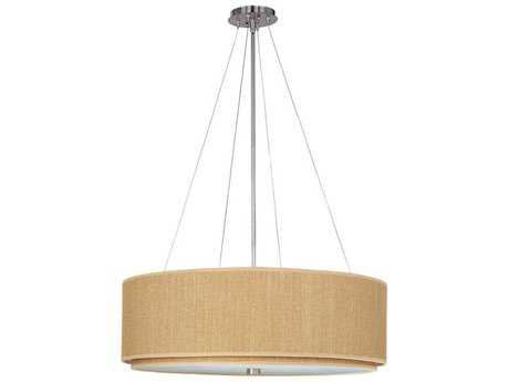ET2 Elements Satin Nickel & Grass Cloth Three-Light 29'' Wide Incandescent Pendant Light