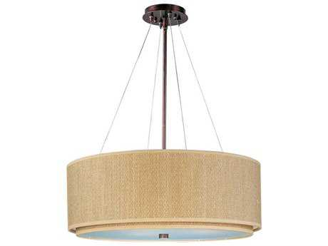 ET2 Elements Oil Rubbed Bronze & Grass Cloth Four-Light 29'' Wide Fluorescent Pendant Light